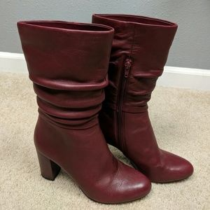 Anne Klein Nysha Wine Leather boots